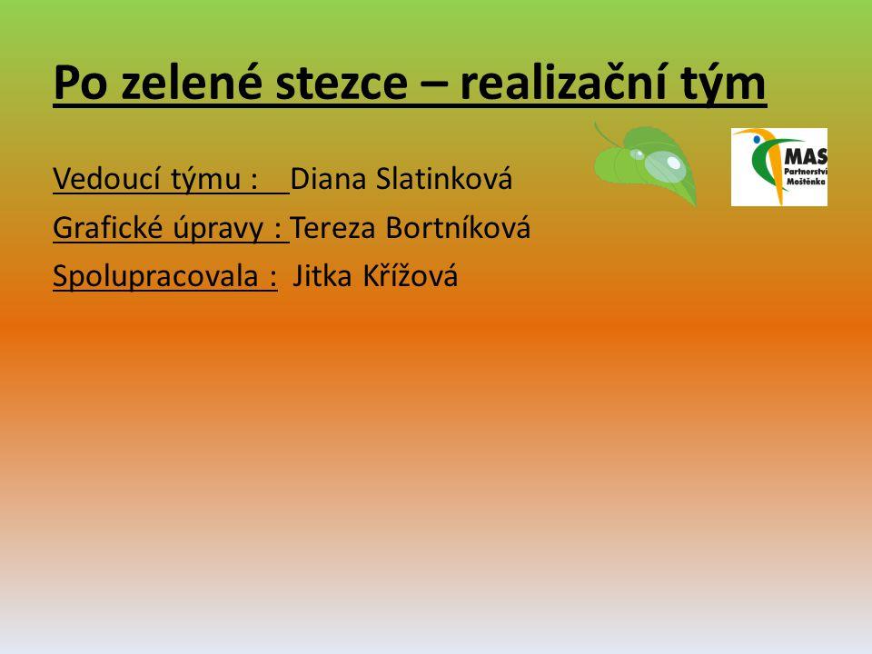 Po zelené stezce – realizační tým Vedoucí týmu : Diana Slatinková Grafické úpravy : Tereza Bortníková Spolupracovala : Jitka Křížová