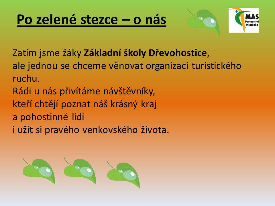 Po zelené stezce – o nás Zatím jsme žáky Základní školy Dřevohostice, ale jednou se chceme věnovat organizaci turistického ruchu. Rádi u nás přivítáme