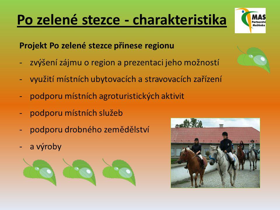 Po zelené stezce - charakteristika Projekt Po zelené stezce přinese regionu -zvýšení zájmu o region a prezentaci jeho možností -využití místních ubytovacích a stravovacích zařízení -podporu místních agroturistických aktivit -podporu místních služeb -podporu drobného zemědělství -a výroby