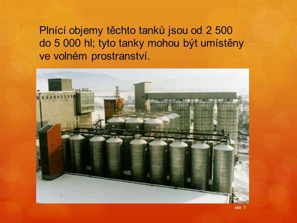Plnící objemy těchto tanků jsou od 2 500 do 5 000 hl; tyto tanky mohou být umístěny ve volném prostranství. obr. 7