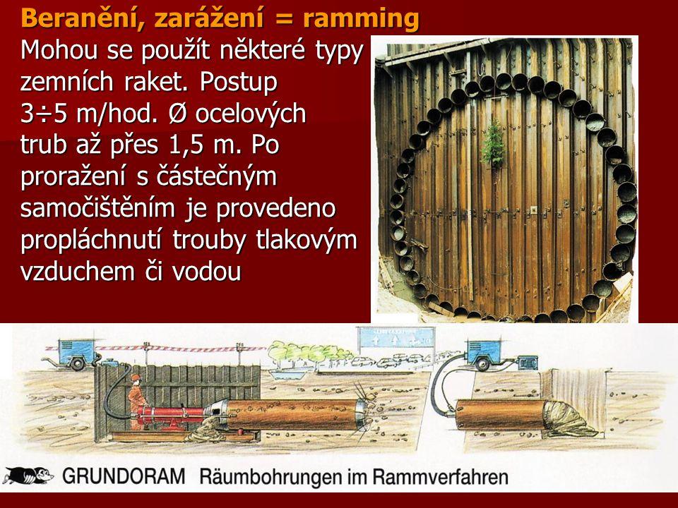 Beranění, zarážení = ramming Mohou se použít některé typy zemních raket. Postup 3÷5 m/hod. Ø ocelových trub až přes 1,5 m. Po proražení s částečným sa