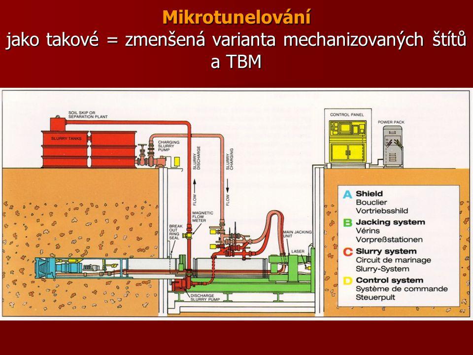 Mikrotunelování jako takové = zmenšená varianta mechanizovaných štítů a TBM