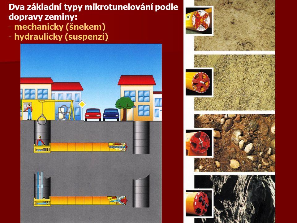 Dva základní typy mikrotunelování podle dopravy zeminy: - mechanicky (šnekem) - hydraulicky (suspenzí)