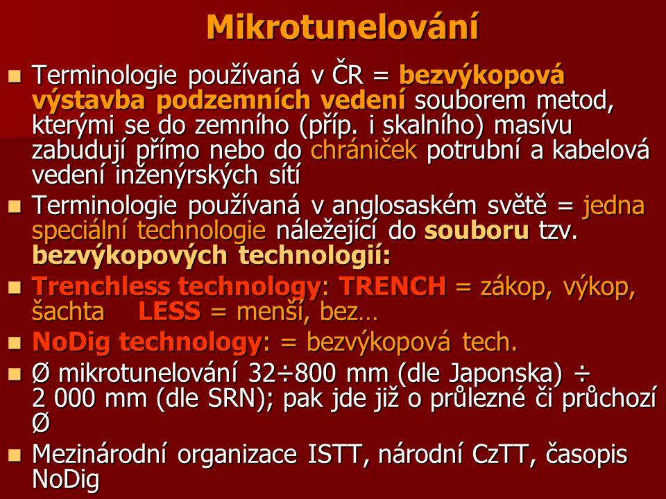 Mikrotunelování Terminologie používaná v ČR = bezvýkopová výstavba podzemních vedení souborem metod, kterými se do zemního (příp. i skalního) masívu z