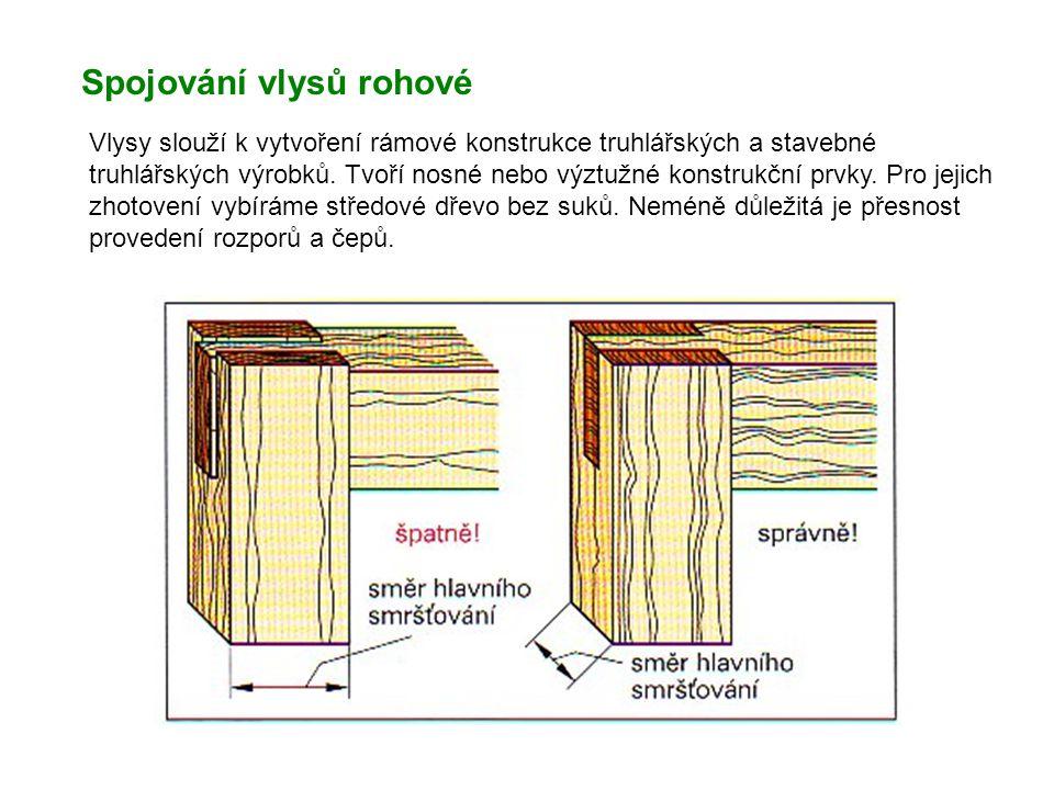 Spojování vlysů rohové Vlysy slouží k vytvoření rámové konstrukce truhlářských a stavebné truhlářských výrobků. Tvoří nosné nebo výztužné konstrukční