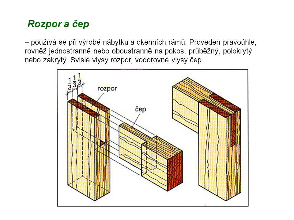 Rozpor a čep – používá se při výrobě nábytku a okenních rámů. Proveden pravoúhle, rovněž jednostranně nebo oboustranně na pokos, průběžný, polokrytý n