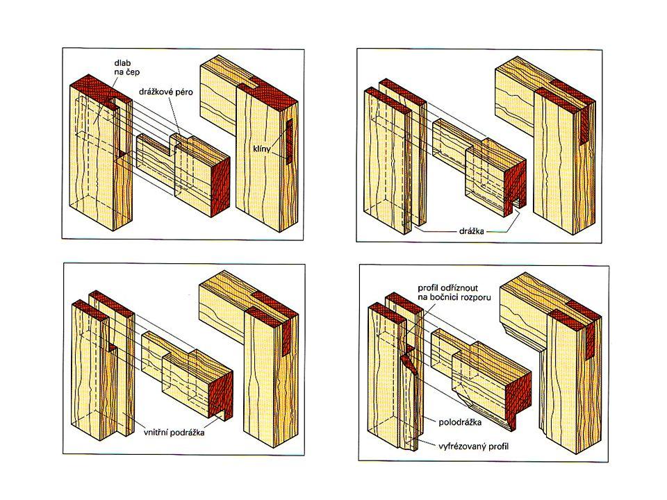 U namáhaných rámů – okenní křídla – zpravidla dvojitý čep průběžný.