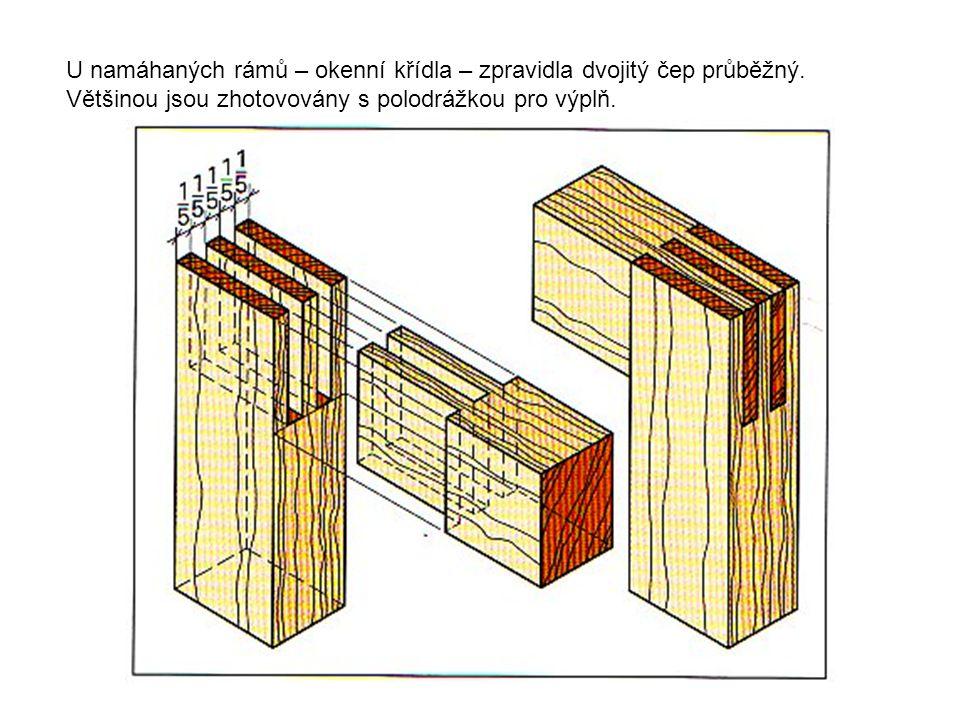 U namáhaných rámů – okenní křídla – zpravidla dvojitý čep průběžný. Většinou jsou zhotovovány s polodrážkou pro výplň.