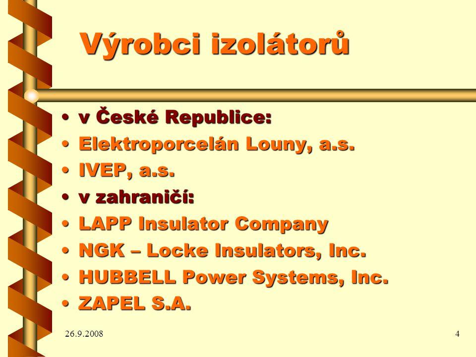 26.9.20084 Výrobci izolátorů v České Republice:v České Republice: Elektroporcelán Louny, a.s.Elektroporcelán Louny, a.s.