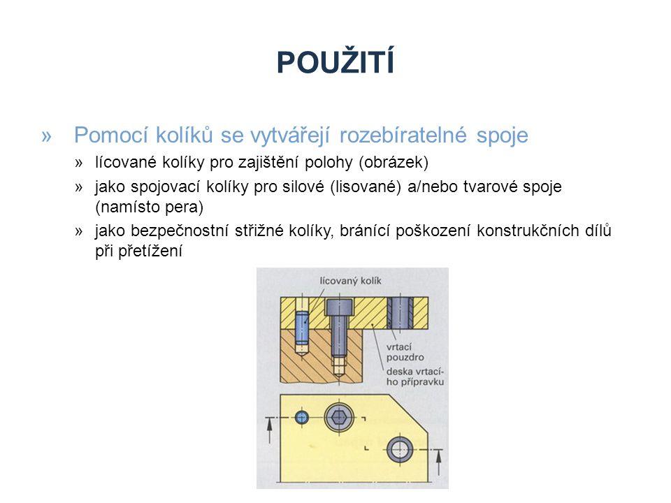 TVARY KOLÍKŮ »Kuželové kolíky »Používají se jako spojovací kolíky »Kuželovitost mají K = 1:50 »Označení kuželového kolíku: ISO 2339-A-5x40-St »5 – malý průměr kužele, 40 – délka, St – materiál »Pro demontáž ze slepých děr se používají kolíky s vnitřním nebo vnějším závitem