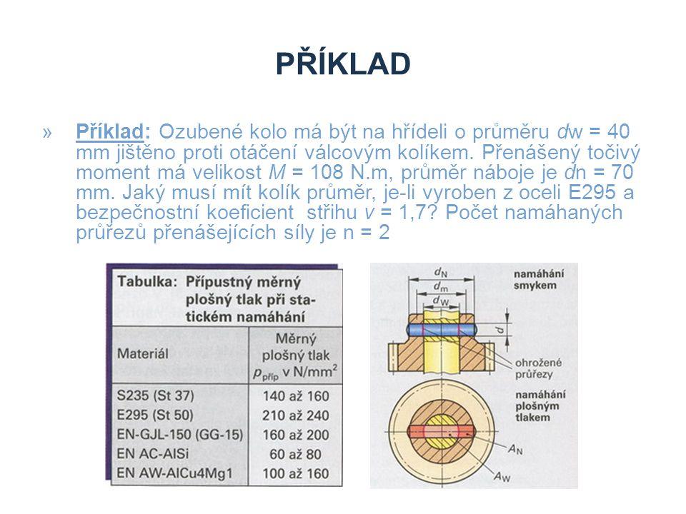 PŘÍKLAD »Příklad: Ozubené kolo má být na hřídeli o průměru dw = 40 mm jištěno proti otáčení válcovým kolíkem. Přenášený točivý moment má velikost M =