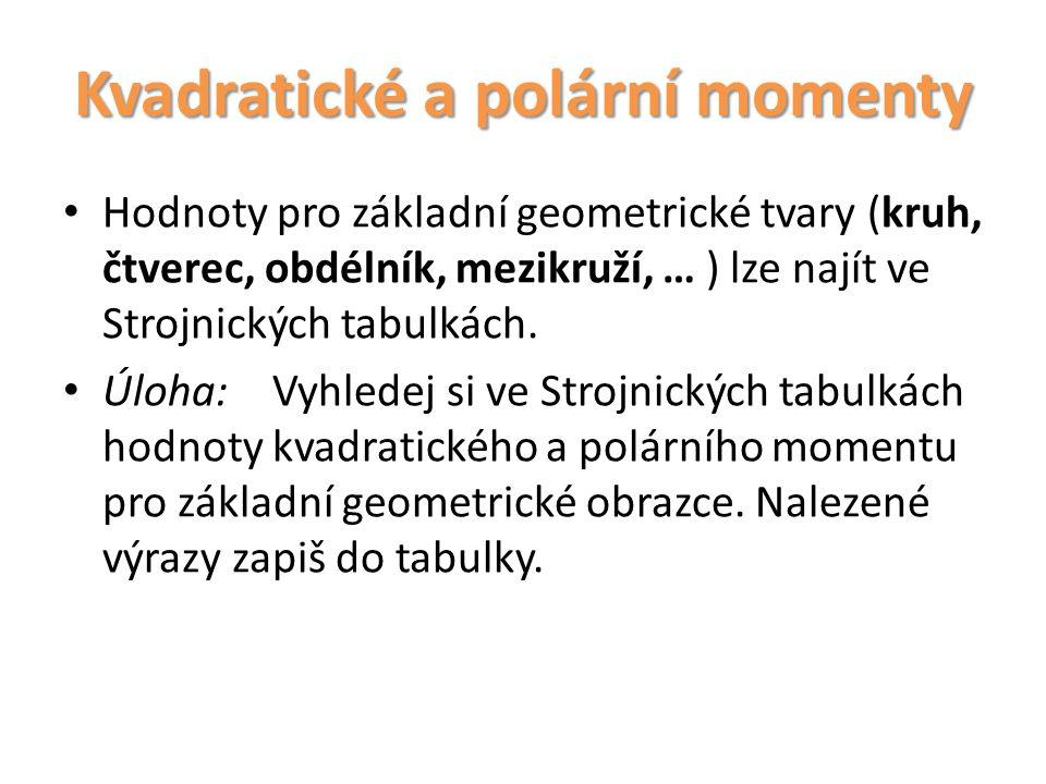 Kvadratické a polární momenty Hodnoty pro základní geometrické tvary (kruh, čtverec, obdélník, mezikruží, … ) lze najít ve Strojnických tabulkách. Úlo