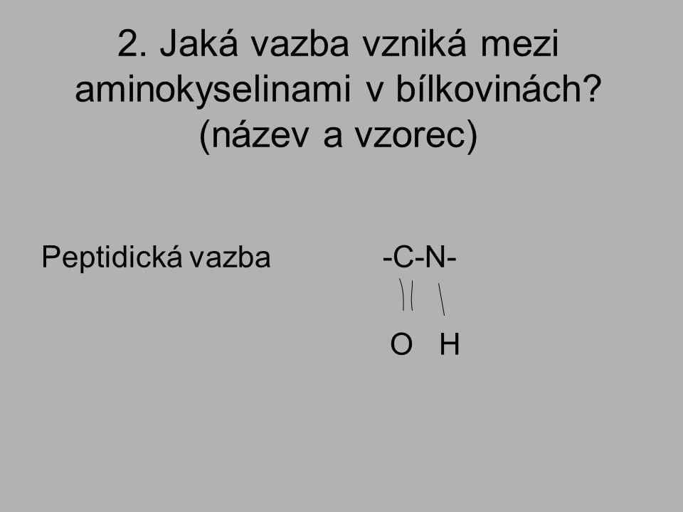 2. Jaká vazba vzniká mezi aminokyselinami v bílkovinách? (název a vzorec) Peptidická vazba-C-N- O H