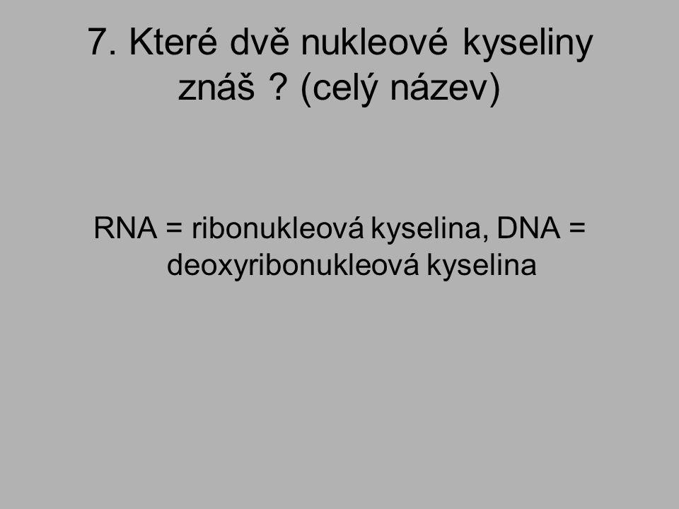 7. Které dvě nukleové kyseliny znáš ? (celý název) RNA = ribonukleová kyselina, DNA = deoxyribonukleová kyselina