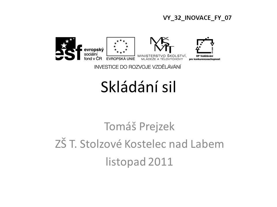 Skládání sil Tomáš Prejzek ZŠ T. Stolzové Kostelec nad Labem listopad 2011 VY_32_INOVACE_FY_07