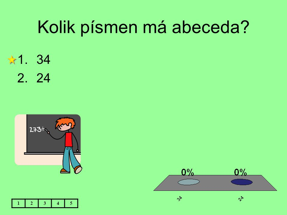 Kolik písmen má abeceda? 12345 1.34 2.24