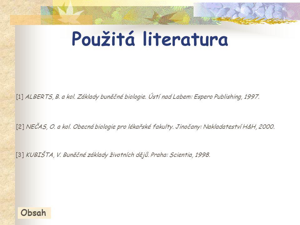 [1] ALBERTS, B.a kol. Základy buněčné biologie. Ústí nad Labem: Espero Publishing, 1997.