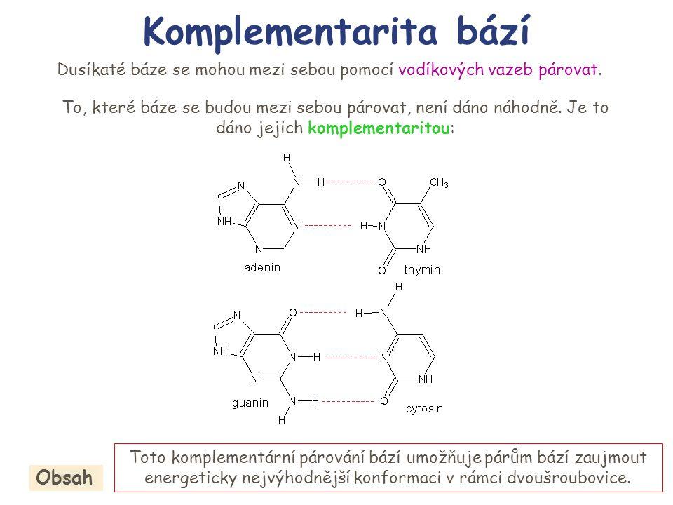 tj.adenin se páruje buď s thyminem (v DNA) nebo s uracilem (v RNA), guanin s cytosinem a naopak.