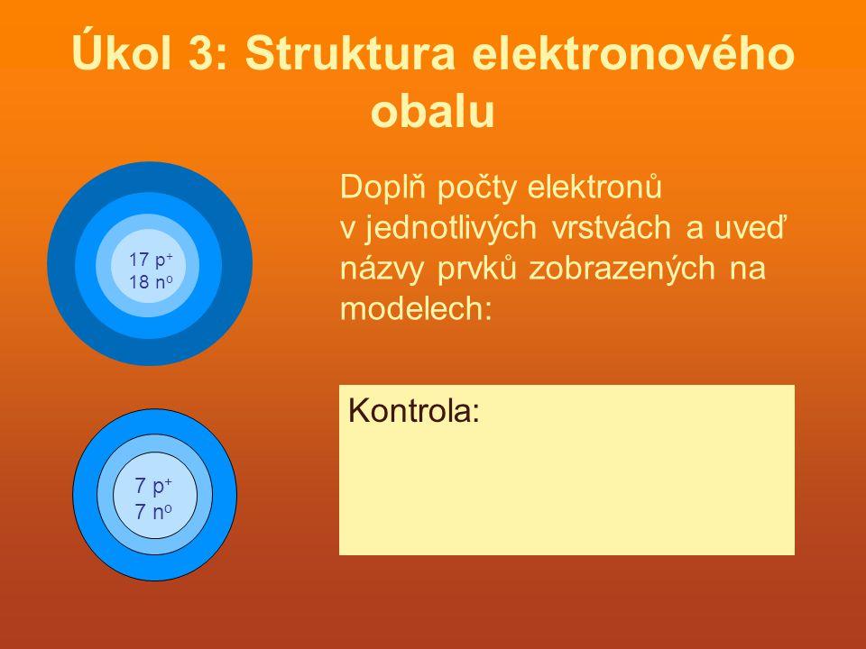 Úkol 4: Doplň v tabulce chybějící počty částic: PrvekPočet elementárních částic protonyneutronyelektrony 3 7 Li343 11 23 Na111211 19 39 K192019 9 19 F9109 35 80 Br354535 Kontrola: Řešení najdeš kliknutím na příslušné políčko.
