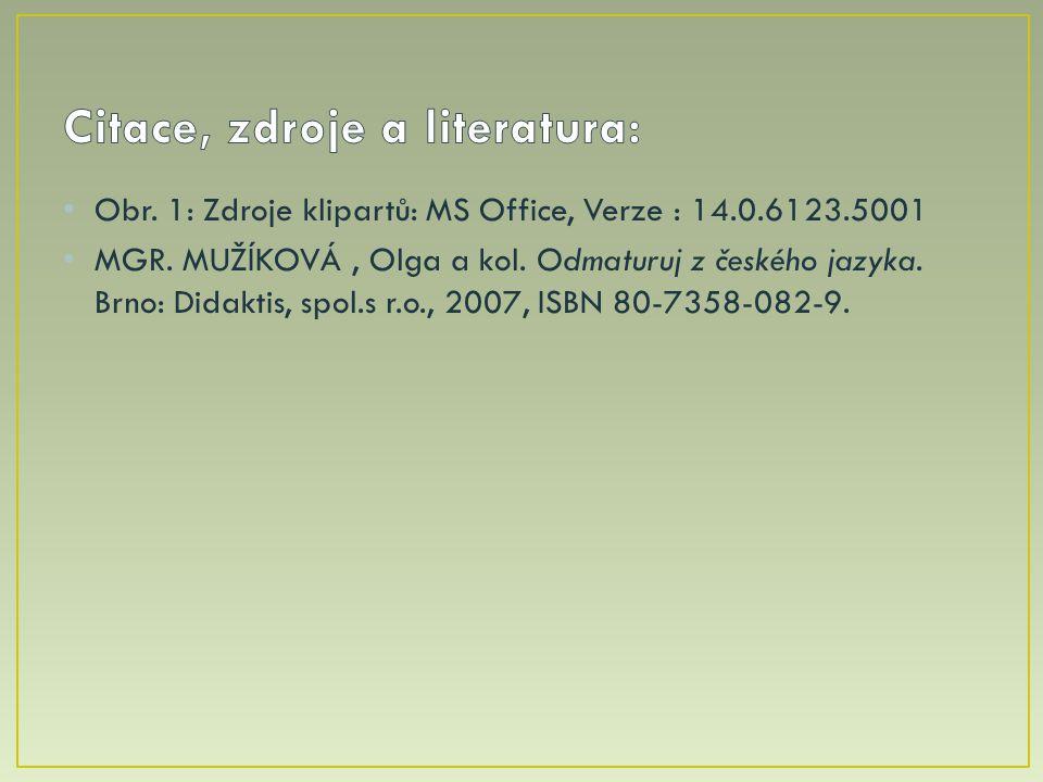 Obr. 1: Zdroje klipartů: MS Office, Verze : 14.0.6123.5001 MGR. MUŽÍKOVÁ, Olga a kol. Odmaturuj z českého jazyka. Brno: Didaktis, spol.s r.o., 2007, I