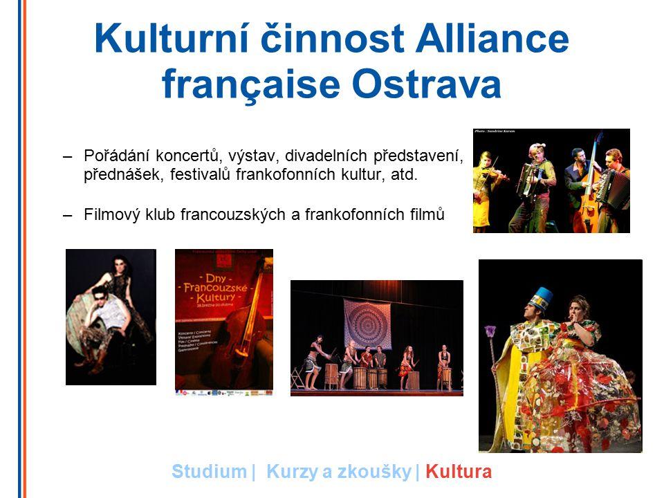 Kulturní činnost Alliance française Ostrava –Pořádání koncertů, výstav, divadelních představení, přednášek, festivalů frankofonních kultur, atd.