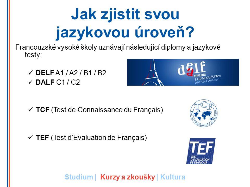 Jak zjistit svou jazykovou úroveň? Francouzské vysoké školy uznávají následující diplomy a jazykové testy: DELF A1 / A2 / B1 / B2 DALF C1 / C2 TCF (Te