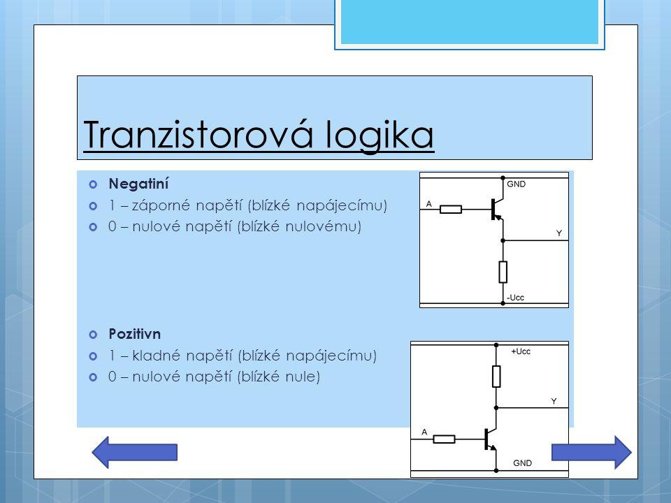 Tranzistorová logika  Negatiní  1 – záporné napětí (blízké napájecímu)  0 – nulové napětí (blízké nulovému)  Pozitivn  1 – kladné napětí (blízké