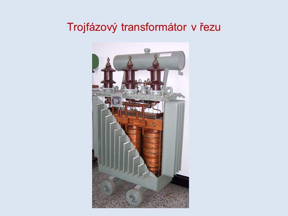 Trojfázový transformátor v řezu