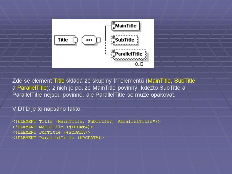 Zde se element Title skládá ze skupiny tří elementů (MainTitle, SubTitle a ParallelTitle); z nich je pouze MainTitle povinný, kdežto SubTitle a ParallelTitle nejsou povinné, ale ParallelTitle se může opakovat.
