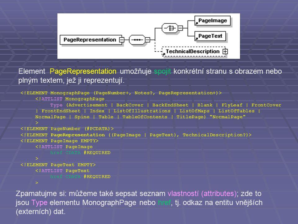 Element PageRepresentation umožňuje spojit konkrétní stranu s obrazem nebo plným textem, jež ji reprezentují. <!ATTLIST MonographPage Type (Advertisem