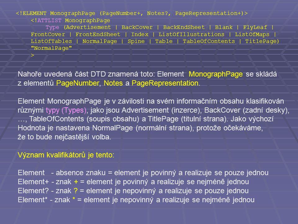 <!ATTLIST MonographPage Type (Advertisement | BackCover | BackEndSheet | Blank | FlyLeaf | FrontCover | FrontEndSheet | Index | ListOfIllustrations | ListOfMaps | ListOfTables | NormalPage | Spine | Table | TableOfContents | TitlePage) NormalPage > Nahoře uvedená část DTD znamená toto: Element MonographPage se skládá z elementů PageNumber, Notes a PageRepresentation.