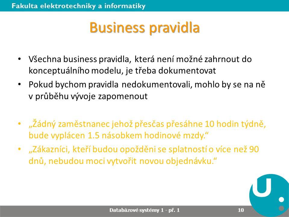 Business pravidla Všechna business pravidla, která není možné zahrnout do konceptuálního modelu, je třeba dokumentovat Pokud bychom pravidla nedokumen