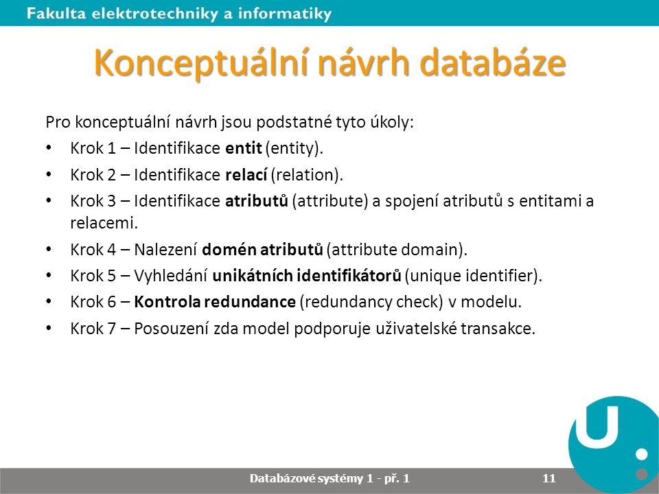 Konceptuální návrh databáze Pro konceptuální návrh jsou podstatné tyto úkoly: Krok 1 – Identifikace entit (entity). Krok 2 – Identifikace relací (rela