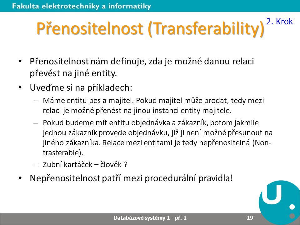 Přenositelnost (Transferability) Přenositelnost nám definuje, zda je možné danou relaci převést na jiné entity. Uveďme si na příkladech: – Máme entitu
