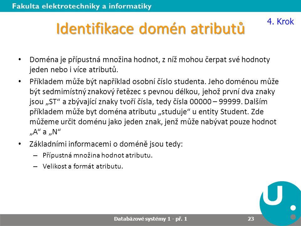 Identifikace domén atributů Doména je přípustná množina hodnot, z níž mohou čerpat své hodnoty jeden nebo i více atributů. Příkladem může být napříkla