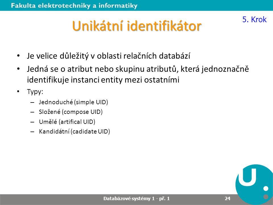 Unikátní identifikátor Je velice důležitý v oblasti relačních databází Jedná se o atribut nebo skupinu atributů, která jednoznačně identifikuje instan