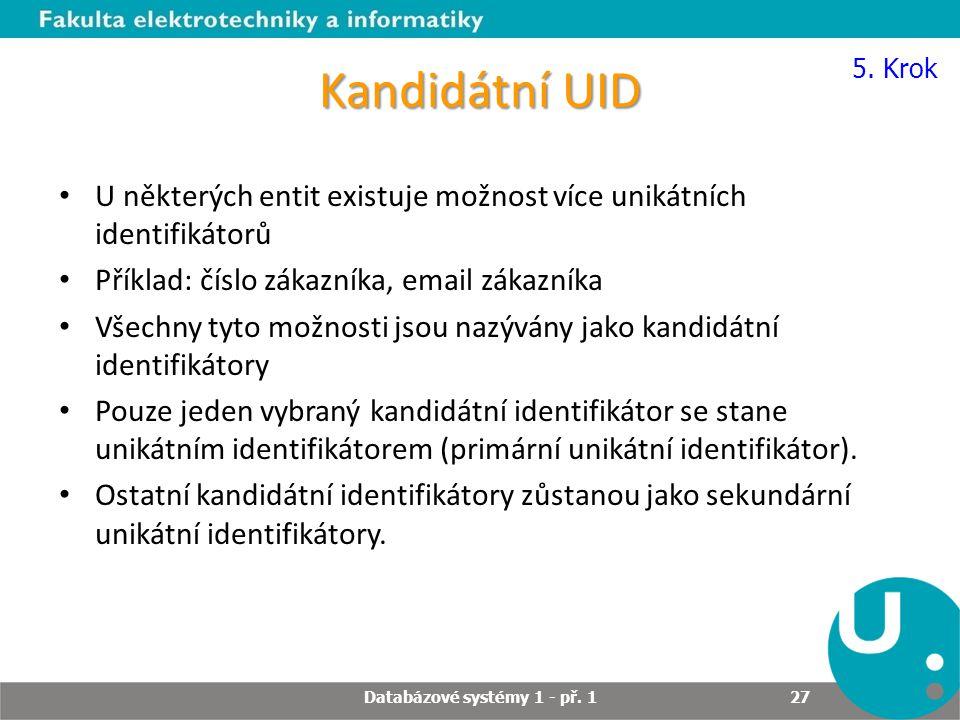 Kandidátní UID U některých entit existuje možnost více unikátních identifikátorů Příklad: číslo zákazníka, email zákazníka Všechny tyto možnosti jsou