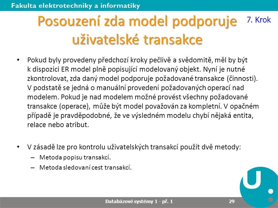Posouzení zda model podporuje uživatelské transakce Pokud byly provedeny předchozí kroky pečlivě a svědomitě, měl by být k dispozici ER model plně pop