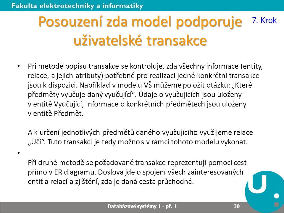 Posouzení zda model podporuje uživatelské transakce Při metodě popisu transakce se kontroluje, zda všechny informace (entity, relace, a jejich atribut