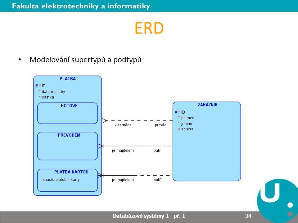 ERD Modelování supertypů a podtypů Databázové systémy 1 - př. 1 34