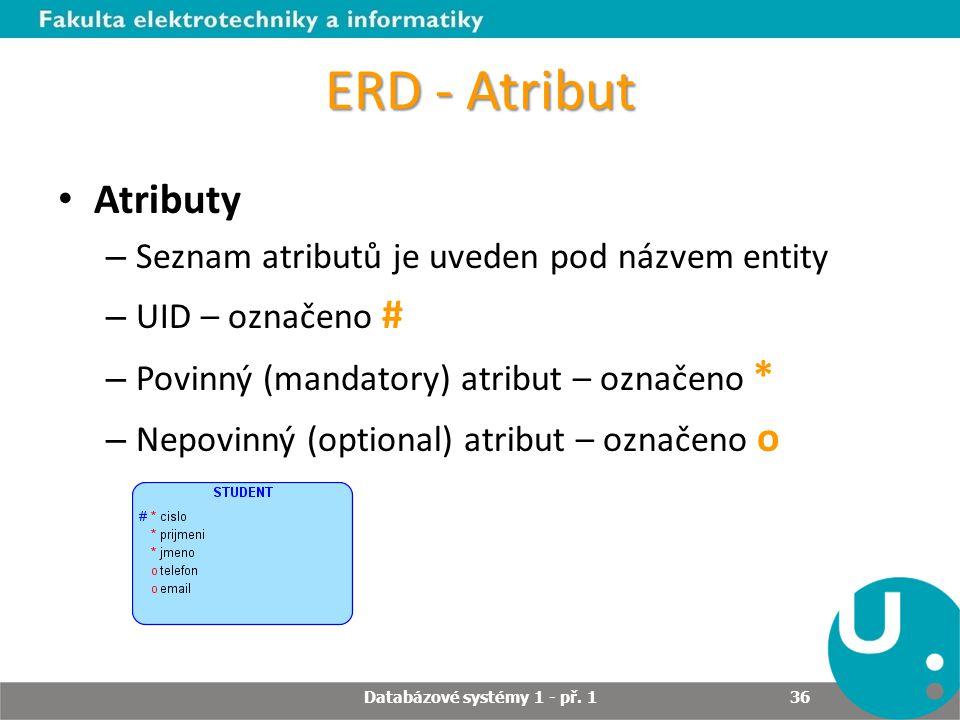 ERD - Atribut Atributy – Seznam atributů je uveden pod názvem entity – UID – označeno # – Povinný (mandatory) atribut – označeno * – Nepovinný (option