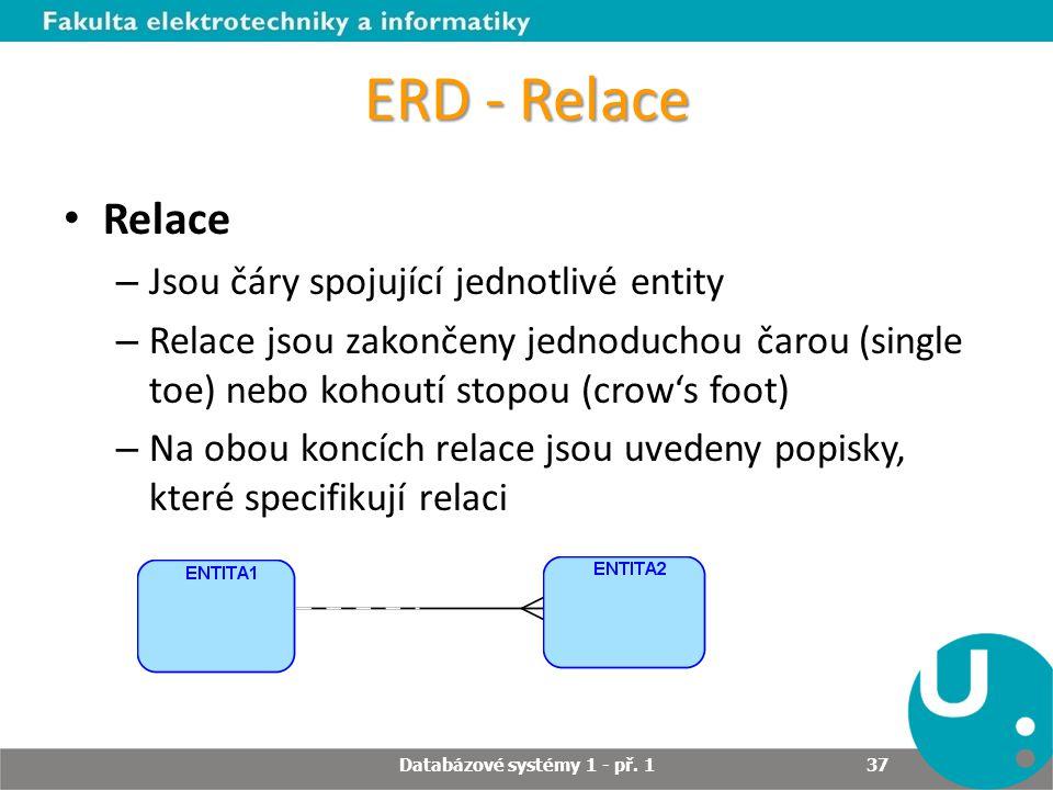 ERD - Relace Relace – Jsou čáry spojující jednotlivé entity – Relace jsou zakončeny jednoduchou čarou (single toe) nebo kohoutí stopou (crow's foot) –