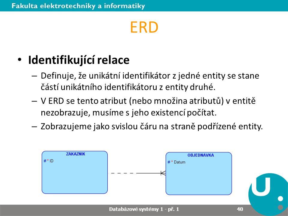 ERD Identifikující relace – Definuje, že unikátní identifikátor z jedné entity se stane částí unikátního identifikátoru z entity druhé. – V ERD se ten
