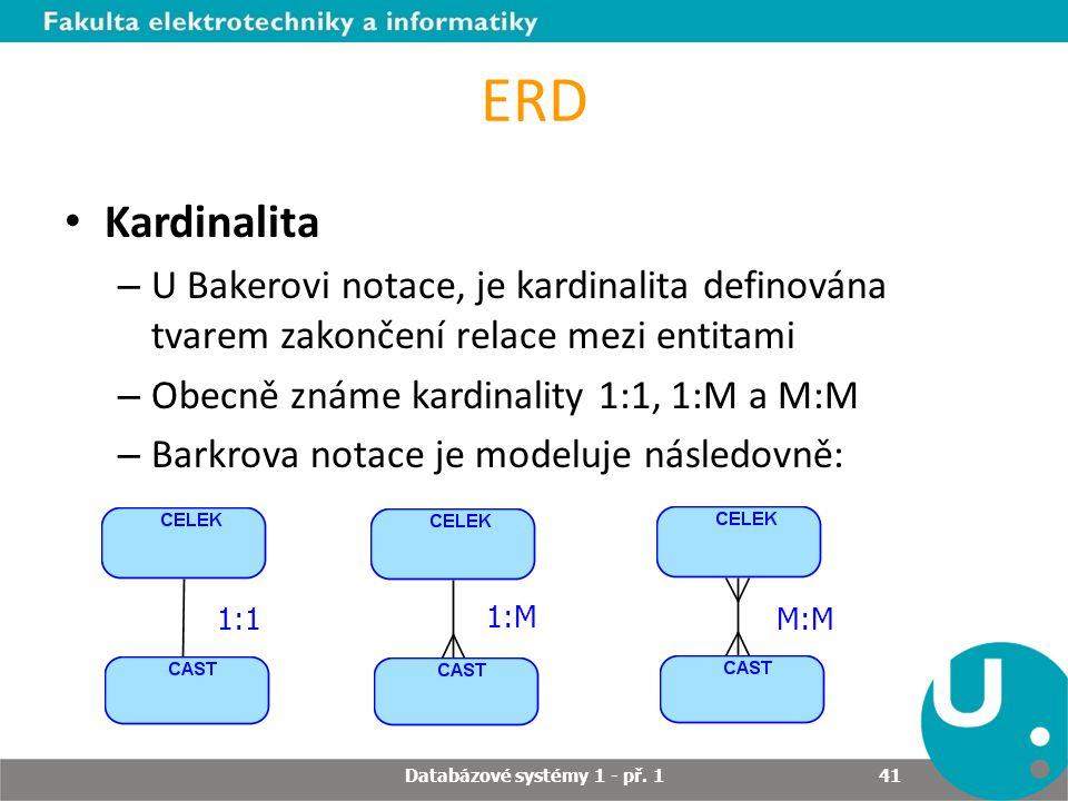 ERD Kardinalita – U Bakerovi notace, je kardinalita definována tvarem zakončení relace mezi entitami – Obecně známe kardinality 1:1, 1:M a M:M – Barkr
