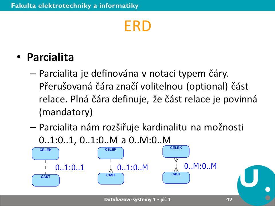 ERD Parcialita – Parcialita je definována v notaci typem čáry. Přerušovaná čára značí volitelnou (optional) část relace. Plná čára definuje, že část r