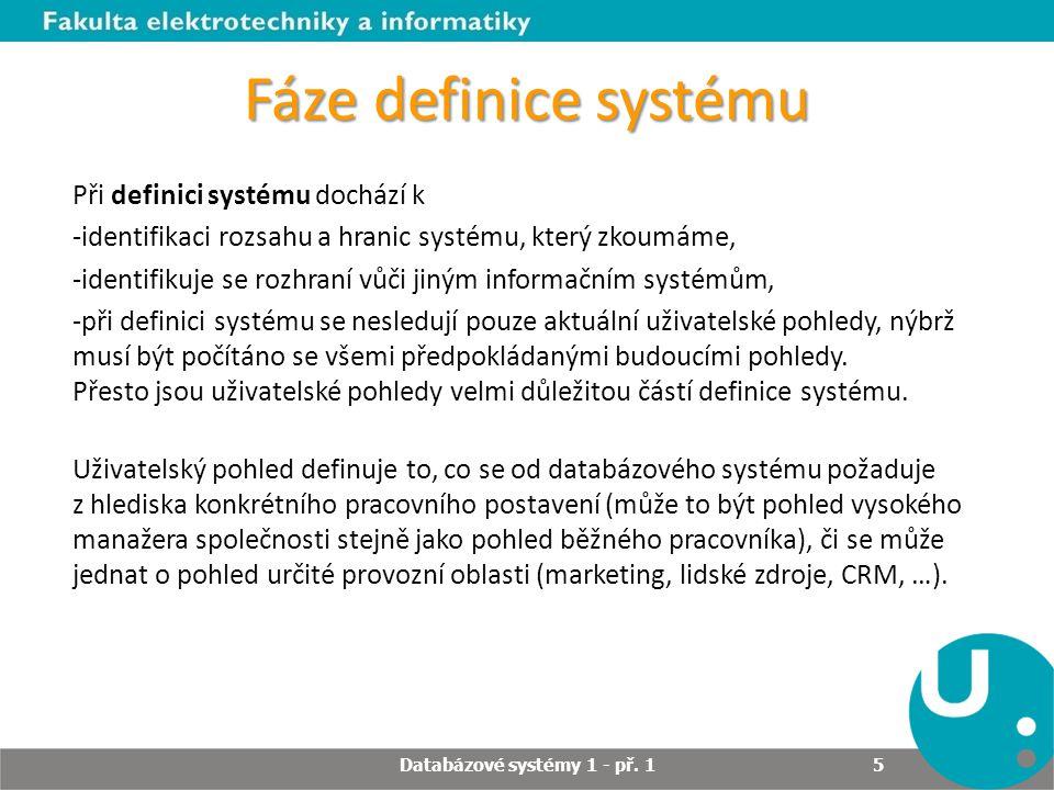 Fáze definice systému Při definici systému dochází k -identifikaci rozsahu a hranic systému, který zkoumáme, -identifikuje se rozhraní vůči jiným info
