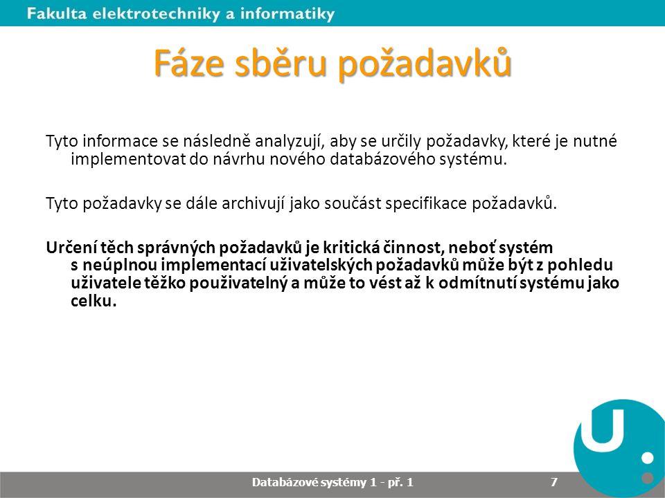 Fáze sběru požadavků Tyto informace se následně analyzují, aby se určily požadavky, které je nutné implementovat do návrhu nového databázového systému