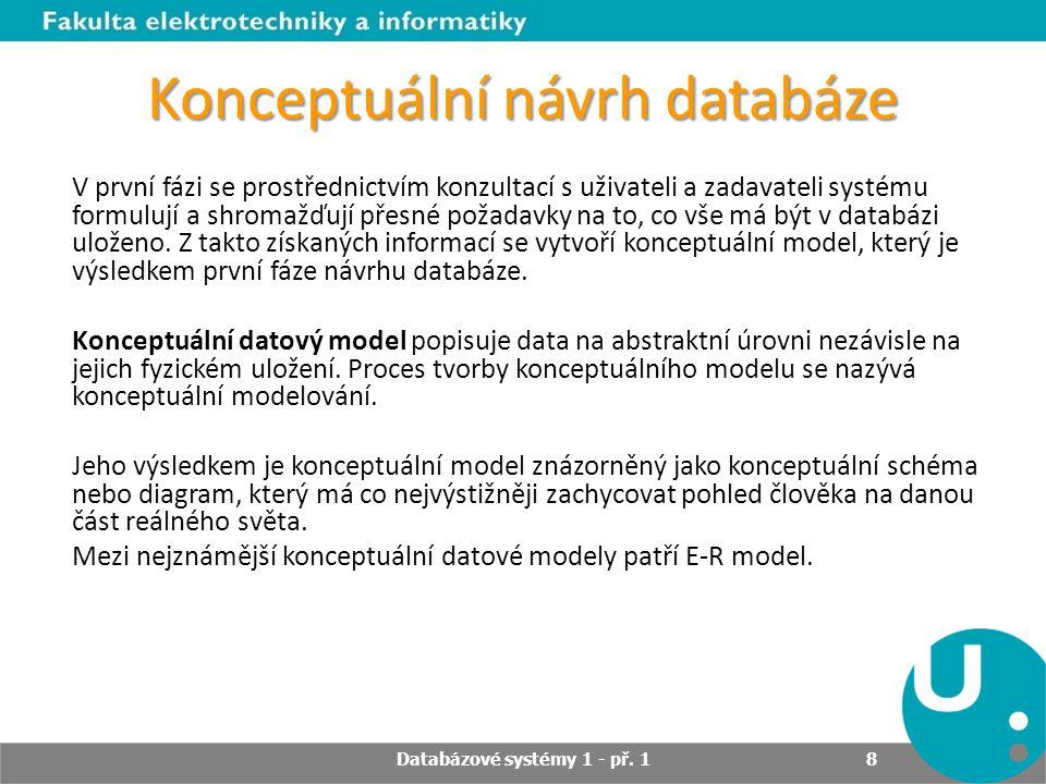 Konceptuální návrh databáze V první fázi se prostřednictvím konzultací s uživateli a zadavateli systému formulují a shromažďují přesné požadavky na to