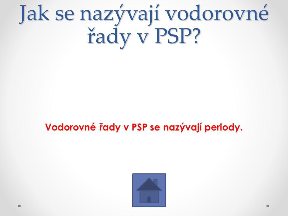 Jak se nazývají vodorovné řady v PSP? Vodorovné řady v PSP se nazývají periody.
