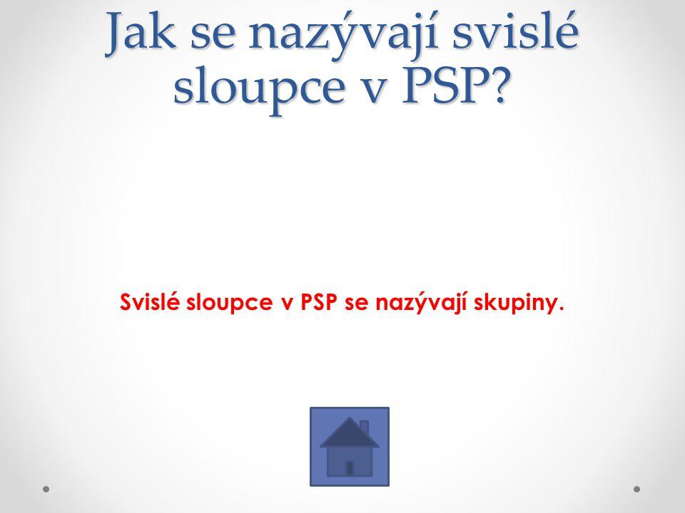 Jak se nazývají svislé sloupce v PSP? Svislé sloupce v PSP se nazývají skupiny.